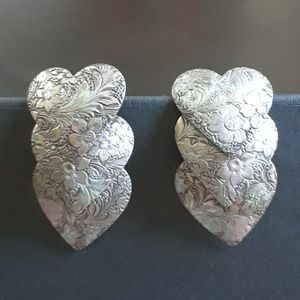 3/$12 Patina Triple Hinged Heart Earrings